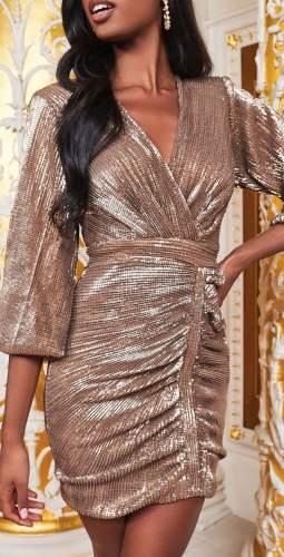 Lavish Alice Gold Balloon Sleeve Pleated Sequin Mini Dress