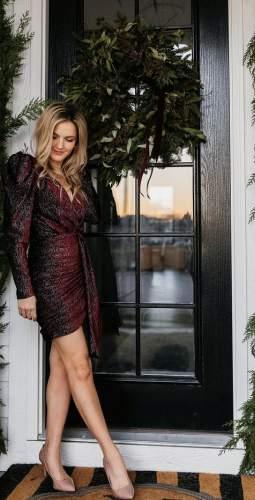 Lavish Alice Burgundy Diamante Velvet Wrap Mini Dress