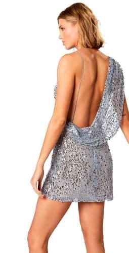Winona Blue Sequin V Neck Desiderata Mini Dress