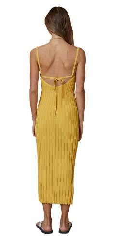 Bec + Bridge Yellow Antoinette Knit Midi Dress