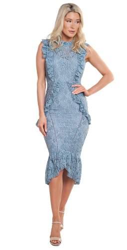 Hope & Ivy Blue Ruffle Lace Midi Dress