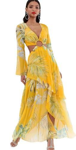 ASOS DESIGN Long Sleeve Maxi Dress In Tropical Print