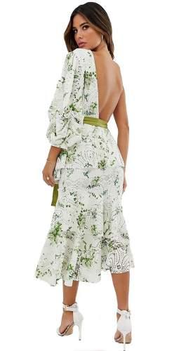 ASOS DESIGN One Shoulder Cutwork Floral Print Dress