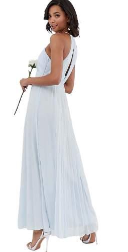 ASOS DESIGN BRIDESMAID Pale Blue Pleated Maxi Dress