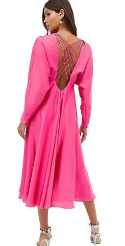 ASOS EDITION Pink Lattice Back Midi Dress In Satin