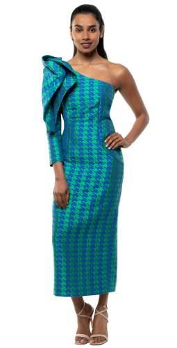 Panambi Green Print Carina One Shoulder Bow Detail Midi Dress