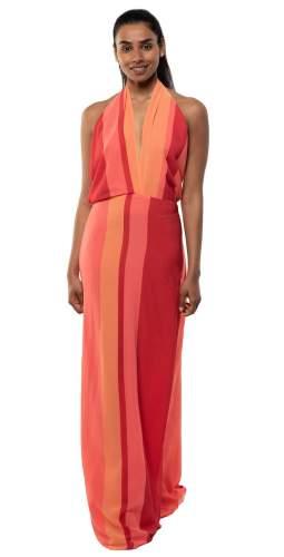 Panambi Orange Yana Halterneck Maxi Dress