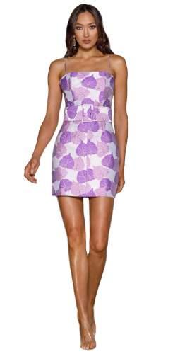 Elle Zeitoune Purple Print Abigail Mini Dress