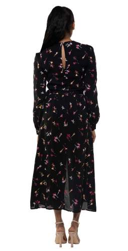 French Connection Black Chiara Drape Midaxi Dress