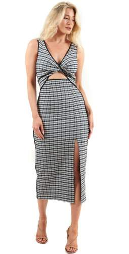 C/MEO Collective Oyster Check Circulate Midi Dress