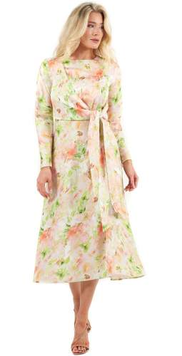 C/MEO Collective Washed Floral Opposite Sides Long Sleeved Midi Dress
