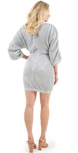 Lavish Alice Silver Sequin Plunge Mini Dress