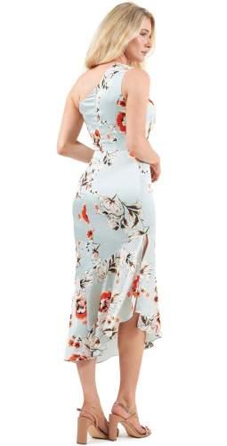 Lavish Alice Mint Floral One Shoulder Midi Dress