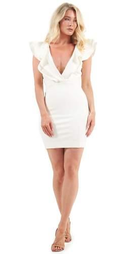 Lavish Alice Ivory Plunge Frill Mini Dress