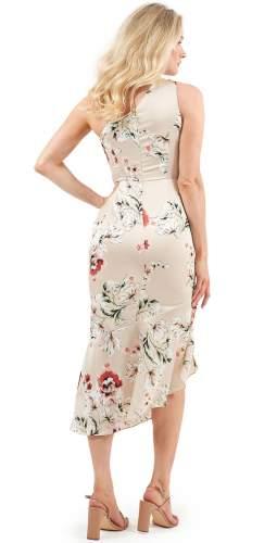 Lavish Alice Beige Floral One Shoulder Midi Dress
