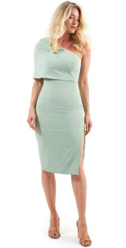 Lavish Alice Sage Green One Shoulder Midi Dress