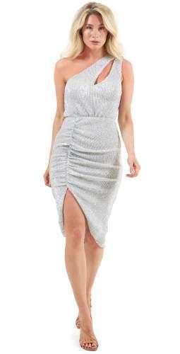 Lavish Alice Silver Sequin Cut Out Midi Dress