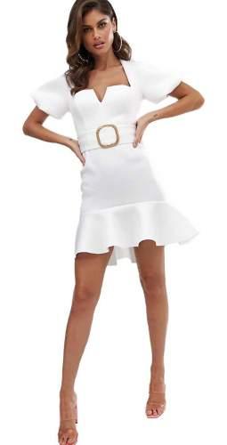 ASOS DESIGN Bubble Sleeve Square Neck Mini Dress