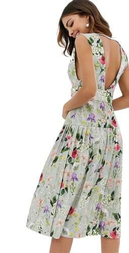 ASOS DESIGN Botanical Floral Plunge Belted Pleated Midi Dress