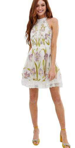 ASOS DESIGN high neck mini dress with cut outs and embroidery and lace