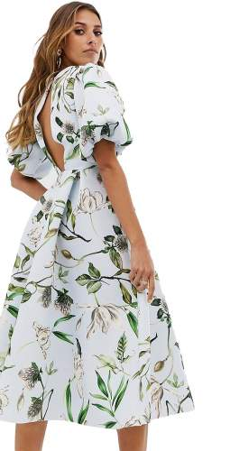 ASOS DESIGN Bubble Sleeve Twist Detail Midi Prom Dress