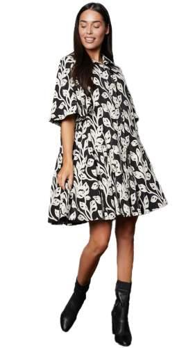 Timeless London Monochrome Floral Emmie Mini Dress