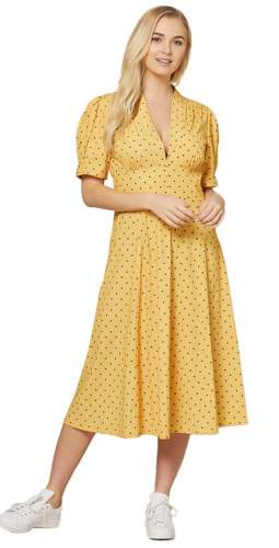Timeless London Curve Yellow Polka Dot Tia Midi Dress