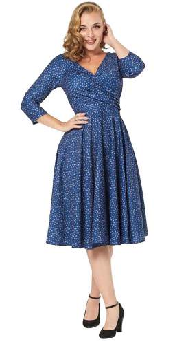 Timeless London Blue Wrap Over Lottie Midi Dress