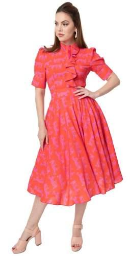 Timeless London Pink Horse Print Hope Midi Dress