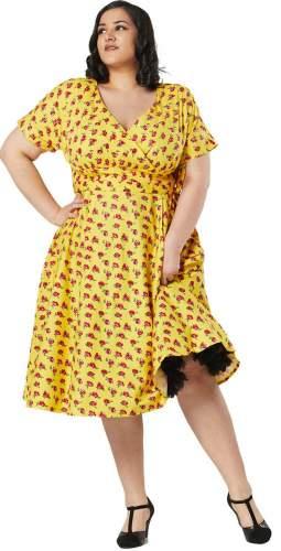 Timeless London Curve Yellow Floral Darcey Midi Dress