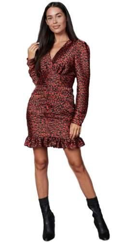 Timeless London Red Leopard Print Rebekah Mini Dress