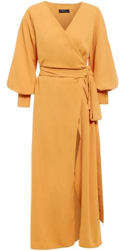 Sarvin Amber Puffed Sleeve Wrap Maxi Dress