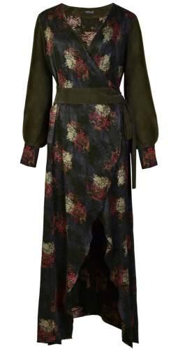 Sarvin Verdant V Neck Jaquard Wrap Maxi Dress