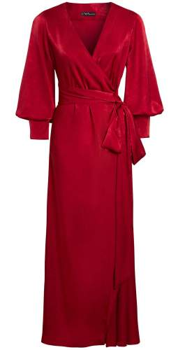 Sarvin Ruby Vivid Red Puffed Sleeve Wrap Maxi Dress