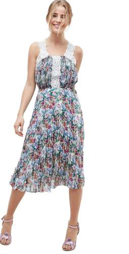 ASOS DESIGN Pleated Midi Dress In Bright Floral With Lace Trims