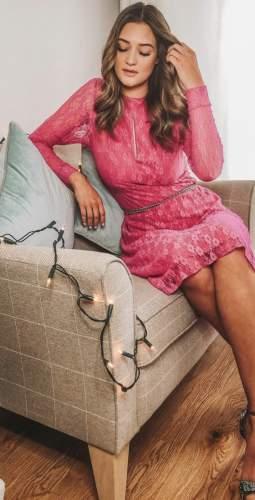 Cocoove Pink Amelie Lace Midi Dress