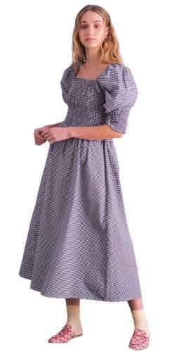 Ilk & Ernie Black Gingham Freya Puffed Sleeve Dress