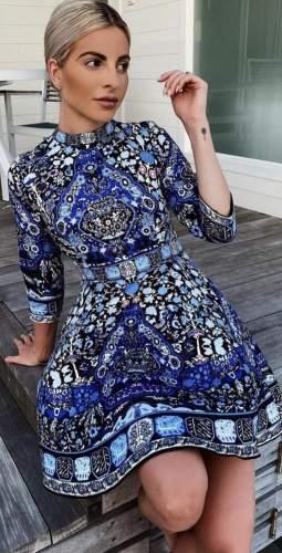 Comino Couture Blue Hue Folk Print Dress