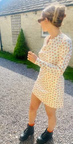 C/MEO Collective Ecru Ditsy Molten Mini Dress